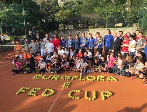 Le azzurre di Fed Cup ad Euroflora e poi in campo con gli allievi delle scuole tennis genovesi